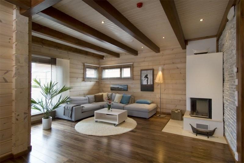 отделку потолка имитацией бруса в деревянном доме