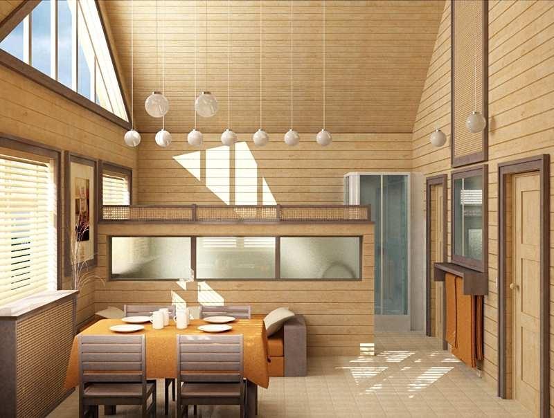 потолок из имитации бруса