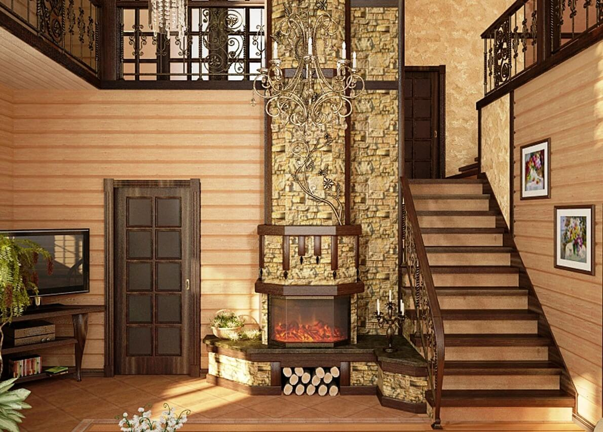 отделка стен имитацией бруса внутри дома