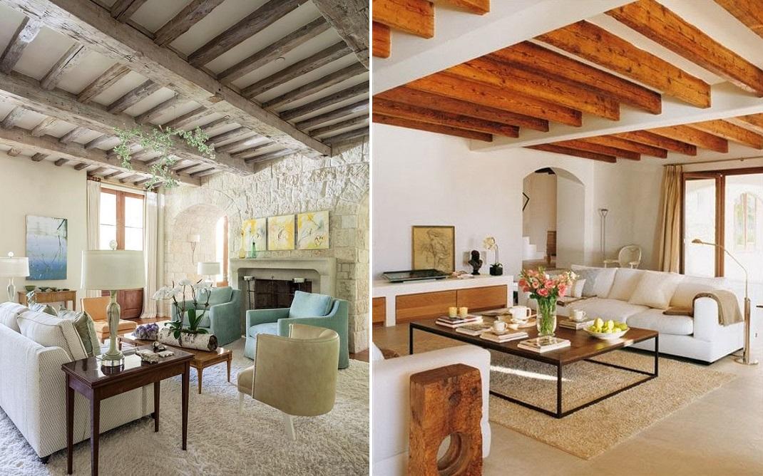 потолок с балками дизайн